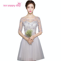 Party chiffon dresses for teens online shopping - teen short gray bridesmaid applique lace bridal party dresses with sleeves ball gowns under party dress for weddings