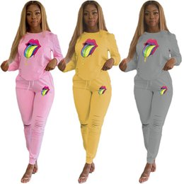 $enCountryForm.capitalKeyWord NZ - Autumn Women Two Piece Sets Big Lips Hoodie + Ripple Holes Pants Trouser Tracksuits Long Sleeve 2PCS Outfits Casual Sweatsuit C72503