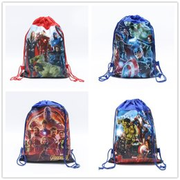 $enCountryForm.capitalKeyWord UK - Kds Cartoon Backpacks The Avengers Alliance Non-woven Drawstring Bags Boys Girls School Bag Children Double-sided Print Backpack Gift C81904