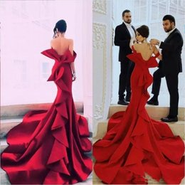 big bow sexy back dress UK - Red Sexy Back Prom Dresses Big Bow Ruffles Tiered Satin Party Dress Long Train Off The Shoulder Mermaid Evening Gowns Robe De Soiree