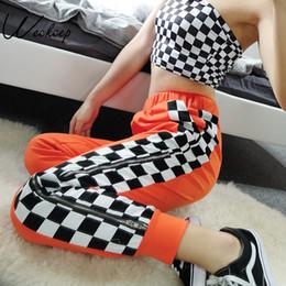 Side Split Trousers Australia - Weekeep Women 2018 High Waist Side Checkerboard Pants Zipper Split Streetwear Sweatpants Womens Trousers Plaid Pencil Pants Y190430