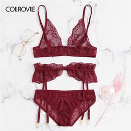 e340c90f3693b fashion women sexy transparent lingerie 2019 - wholesale Red Floral Lace  Garter Sexy Lingerie Set Women
