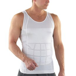$enCountryForm.capitalKeyWord NZ - Undershirt Men Slimming Underwear Body Shaper Waist Corset Vest Shirt Compression Singlet Bodybuidling Fitness Bodysuit White