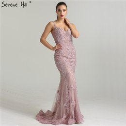 Lace Mermaid Dress Diamonds Australia - Pink Sexy Elegant Evening Dresses 2019 Lace Pears Diamond Mermaid Formal Evening Dress Real Photo