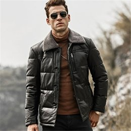 $enCountryForm.capitalKeyWord NZ - Winter Warm Down Coat with Removable Sheep Fur Collar Male Duck Down Leather Jacket Men Lambskin Genuine Leather Jacket