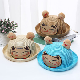 $enCountryForm.capitalKeyWord Australia - MUQGEW Kids Baby Cute Hat Cap Children Baby Photography Breathable Cartoon Hat Ears Straw Sun Protection Kids Touca Infantil