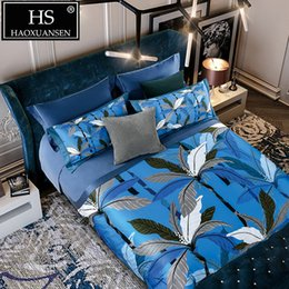 tree king size bedding sets 2019 - 650 Thread Count Blue 100% Cotton 4pcs Bedding Sets Banana Tree Digital Print Duvet Cover Sets Queen King Size Adult Bed
