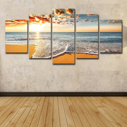 $enCountryForm.capitalKeyWord Australia - 5Pcs Colorful Sunshine Beach Sea Waves Seascape Oil Painting Poster Wall Art HD Print Canvas Painting Fashion Hanging Pictures