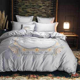 $enCountryForm.capitalKeyWord NZ - Grey Green Oriental Embroidery Luxury Bedding Sets King Queen Size Bed set Egyptian cotton Bed sheet Duvet Cover set Pillowcases