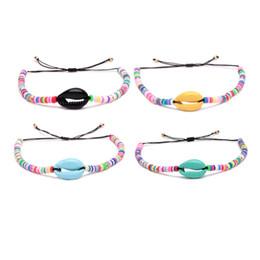 $enCountryForm.capitalKeyWord NZ - Brightly Mixed Colors Polymer Clay Discs Bead Heishi Paint Spraying Cowrie Seashell Bracelet Women Men Festival Summer Jewelry