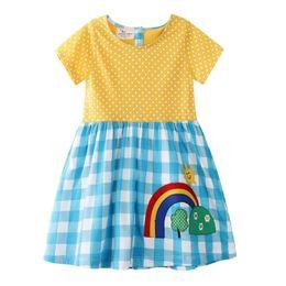 Discount down fur lined - 2019 Rainbow Plaid Girls Dresses Yellow Short Sleeved A-line Polka Dot Princess Children Dresses Baby Girls Designer Clo