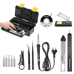 Soldering Iron Kit Tips 60W Adjustable Temperature Welding Solder Sucker Desoldering Tweezers Repair Tool from reballing rework station manufacturers