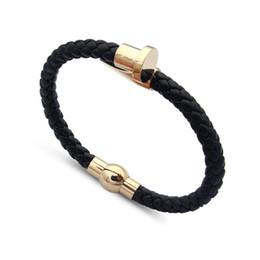Men titaniuM Magnetic bracelet online shopping - Fashion titanium steel jewelry explosion models magnetic buckle black red woven leather rope nail chain bracelet for women men