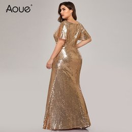 $enCountryForm.capitalKeyWord NZ - Aoue Plus Size Rose Gold Evening Dresses Long Mermaid V-Neck Sequined Arab Formal Party Dresses Lange Jurk 2019