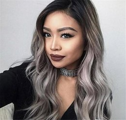 Dark Roots Hair Australia - 1BTGray Full Lace Human Hair Wigs Bleached Knots With Baby Hair Dark Roots Natural Wave Lace Front Wig Ombre Gray Wig