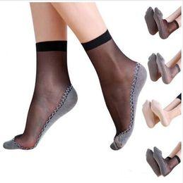 80f1e391d97 Women Silk Socks Sheer Velvet Short Ankle Girls Transparent Massage Hosiery  Fashion Anti-skid Hosiery Thin Elastic Summer Casual Socks B5246