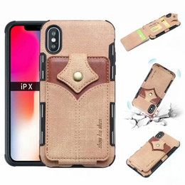 iphone card box case 2019 - Wallet ID Card Slot Leather For Iphone XR XS MAX X 8 7 6 Hybrid Hit Color Soft TPU Silicone Cash Cases Magnetic Flip Cov