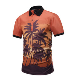 Mens Hot Sell Summer 3D Coconut tree Print Polo T-Shirt New Fashion Breathable Slim Male Polos