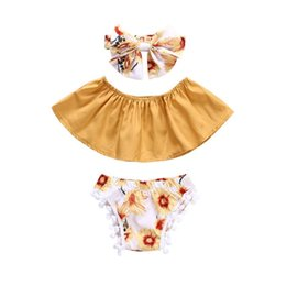 Wholesale Baby girls summer floral outfits pc sets bow headband Boob tube top pompons shorts cute toddlders flower summer clothing