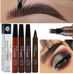 Discount tattoo pen waterproof New Microblading Eyebrow Pen Waterproof Fork Tip Eyebrow Tattoo Pencil Long Lasting Professional Fine Sketch Liquid Eye
