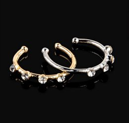 $enCountryForm.capitalKeyWord NZ - M Gold Silver Stainless steel Crystal Rhinestone Nose Ring Nostril Hoop Nose Body Piercing Jewelry