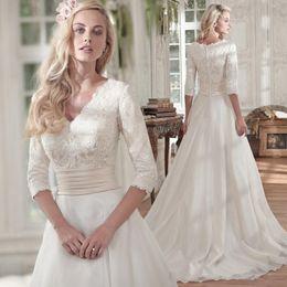 $enCountryForm.capitalKeyWord Australia - 2019 Sexy Chiffon Boho Wedding Dress Cheap Half Sleeves Wedding Gowns Beach Bride Dresses
