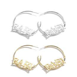 big hop earrings 2019 - Alphabet Baby Letters Big Circle Hoop Earrings For Women Fashion Hip Hop Jewelry cheap big hop earrings