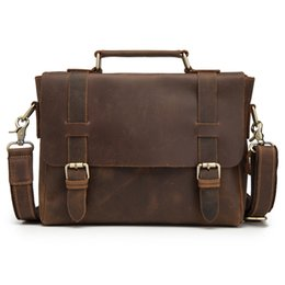 AttAche briefcAses online shopping - Men Oil Waxy Leather Antique Design Business Briefcase Laptop Document Case Fashion Attache Messenger Bag Tote Portfolio
