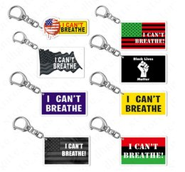 wholesale metal prints NZ - NEW I CAN'T BREATHE keychain key holders BLACK LIVES MATTER letters print keyring bag pendants with Metal Clip US Flag Accesseries D6902