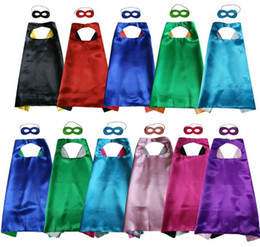 $enCountryForm.capitalKeyWord NZ - New Plain Colors 70*70cm Layers Satin Costume Halloween Cosplay Super Hero Capes Kids Capes With Mask