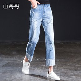 Modern Coating Australia - 2019 New Women Ankel-Length Pants High Waist Ripped Washed Regular Straight Casual Coated Lady Jeans With Letterplus size J190425