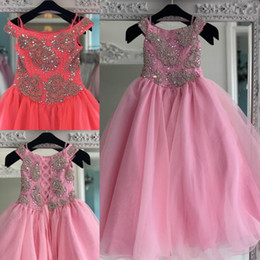red little rosie pageant dress Australia - Pink Organza Pageant Dress for Teens 2020 Lace-Up Back Bling Rhinestones Long Pageant Gowns for Little Girls Formal Party rosie Off Shoulder