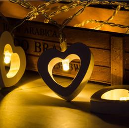 Solar Heart Lights Australia - Home & Garden Hot 10 LED Warm Wooden Heart Shape String Fairy Lights For Christmas Xmas Wedding Decoration Party Valentine's Day DecorationL