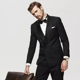 White Suits For Men Black Pants Australia - Black Groom Tuxedo Men Suits for Wedding Man Suits Double Breasted 2Piece Coat Pants Custom Made Cotume Homme Slim Fit Terno Masculino