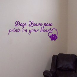 Wall Graphics Prints Australia - Dogs Paw Print And Heart Wall Sticker Home Decor Living Room Bedroom Wall Decals Pets Shop Decoration Art Murals