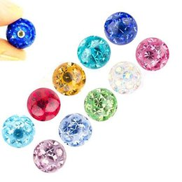 coating tongue NZ - Epoxy Coated Ferido Multi CZ Crystal Loose Ball Body Piercing Replacements Accessories for Tongue Ring Labret Lip Ear Jewelry