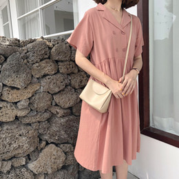 long sleeve polo korean Australia - Summer Korean version of the solid color Polo collar short-sleeved loose casual wild long shirt dress female
