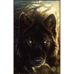 wolf landscape paintings 2019 - Animal Black Wolf 5D Diy Diamond Painting, Cross Stitch Diy Diamond Embroidery Home Decoration Rhinestone Painting Mosai