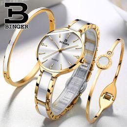 Wrist Watch Binger Australia - Switzerland Binger Luxury Watch Brand Crystal Fashion Bracelet Ladies Women Wrist Watches Relogio Feminino B-1185 Q190430
