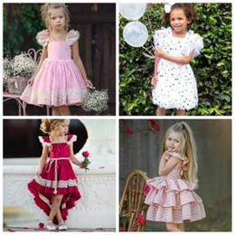 $enCountryForm.capitalKeyWord NZ - kids sequin lace plaid dress Party Bow Princess Dress Flower Wedding Bridesmaid Formal princess Dresses Summer beach Sundress FFA1570