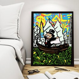 $enCountryForm.capitalKeyWord NZ - Man Sailing The Sea Of Cash Poster Alec Monopolyingly Paintings Canvas Modern Art Decorative Wall Pictures For Living Room Home Decoration