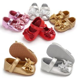 Sequin Girl Shoes NZ - good quality Baby Girls Princess Shoes Infant Toddler Sequin BowPU Leather Soft Sole Crib Toddler Newborn Shoes