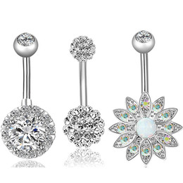 ball belly button rings UK - Silver Hot Sale Exquisite Opal Belly Button Soft Ceramic Ball Navel Ring Combination Girl Jewelry Belly Button Nail 2 Colors