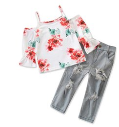 Baby Girl Summer Suits Australia - 2019 children's clothing Baby girl suspender floral suit summer new shirt + denim pants girls 2pcs  set kids clothes