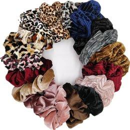 Discount strip holders - 10pcs lot women's velvet hair Scrunchies Hair Tie Accessories Ponytail Holder leopard shinny glitter strips
