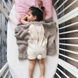 Infant swaddle online shopping - 73 cm Baby Rabbit Ear Blankets Kids Ins Hand Knit Blanket Crochet Swaddling Infant Cartoon Knitted Bath Towels mat AAA1692