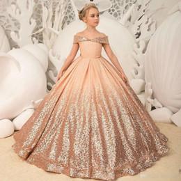235ed110f6 Kids off shoulder dress online shopping - 2019 Sparkly Rose Sequined Flower  Girl Dresses Off Shoulder