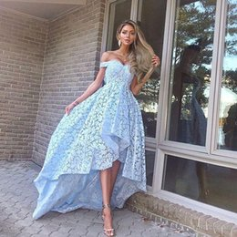 66b1de20fcedd Blue A-line High Low Prom Dresses off the Shoulder Full Lace Asymmetrical  Hem Evening Party Gowns Front Short Back Long Homecoming Dress