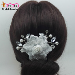 $enCountryForm.capitalKeyWord NZ - Wedding Bridal Hair Combs Women Embroidery Hair Jewelry Fashion Silver Headpiece New White Flower Headwear Crystals Ornaments Accessories