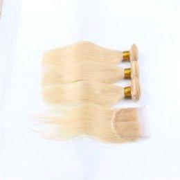 Hair Healthy Australia - Blonde Hair With Lace Closure Soft and Healthy Straight Hair With Closure 4x4 Pre Plucked Lace Closure With Blonde Virgin Hair Bundles